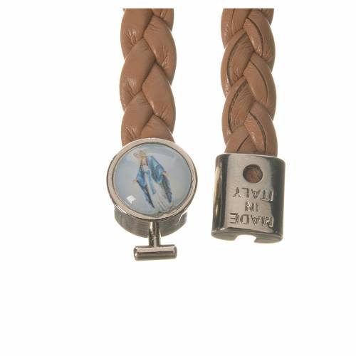 Bracelet tressé 20 cm Vierge Miraculeuse couleur cuir s2