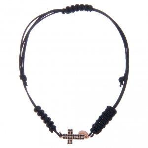 Silver bracelets: Bracelet with cord, rosè cross 1,3x1 cm with black zircons in 925 sterling silver