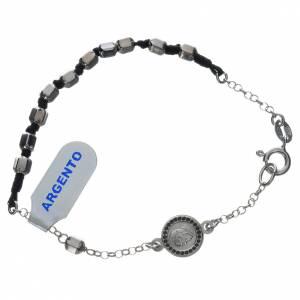 Silver bracelets: Bracelet with Pope Francis in 800 silver, hexagonal grain