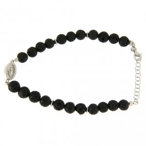 Silver bracelets: Bracelet with Saint Rita medalet, white zircons, silver and lava stones