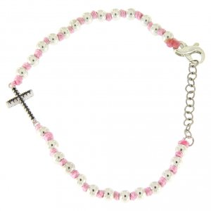 Silver bracelets: Bracelet with silver cross and black zircons, 3 mm black spheres and pink cord
