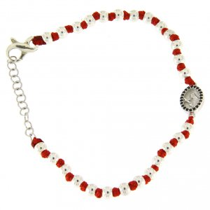 Silver bracelets: Bracelet with silver spheres sized 3 mm, red cotton knots, Saint Rita medalet and black zircons