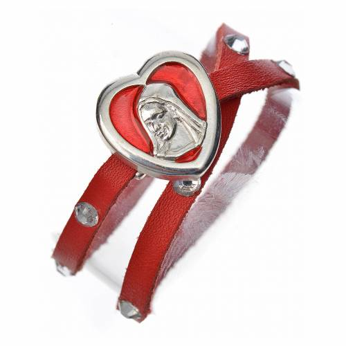 Bracelet with Swarovski, red leather, Virgin Mary pendant s1