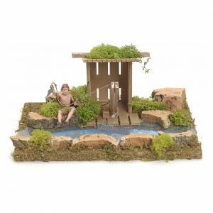 Ponts, ruisseaux, palissades pour crèche: Bras de rivière avec cabane et pêcheur