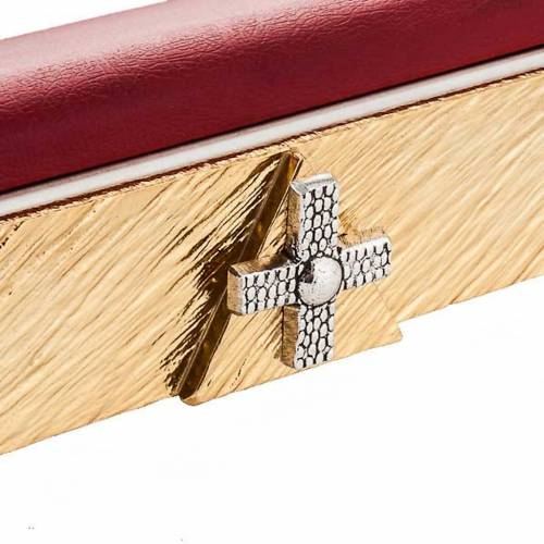 Brass book stand with cushion and cross s3