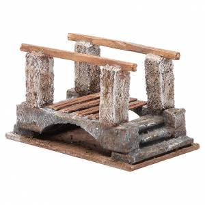 Bridge for nativity with railing in wood 10x18x11cm s3