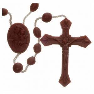 Economical rosaries: Brown nylon rosary, centerpiece easy to open
