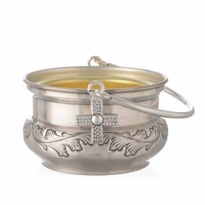 Blessing items: Bucket in silver brass with leaves