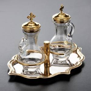 Burettes en verre et plateau doré nikelé s3