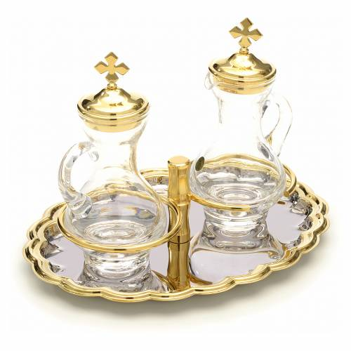 Burettes en verre, plateau nickelé et doré s3