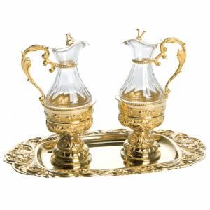 Burettes pour liturgie Molina laiton doré décor floral s1