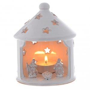 Belén terracota Deruta: Cabaña candelero blanca perforada de Navidad terracota 13 cm