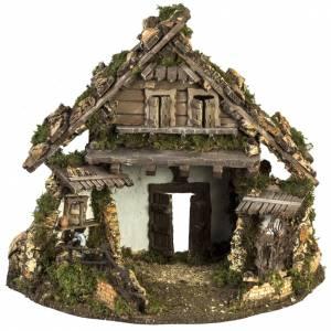 Cabaña estilo refugio para el pesebre con fuente 56x48x38 s1