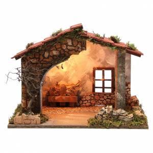 Cabane crèche rustique illuminée 35x50x26 cm s1