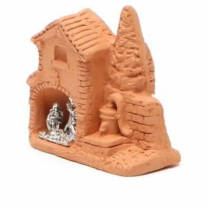 Cabane et nativité miniaturisées terre cuite naturelle 6x7x3 cm s2