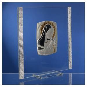 Cadre Baptême Argent et strass maternité 17,5x17,5 cm s3