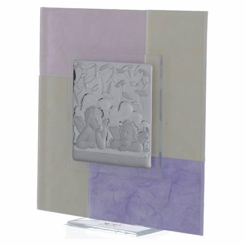 Cadre Baptême rose-lilas 17x17 cm s2