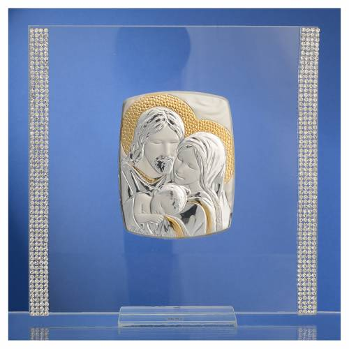 Cadre Mariage Ste Famille Argent et strass 17,5x17,5 cm s2