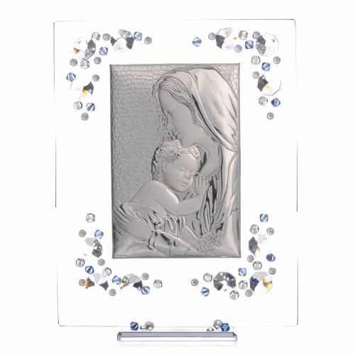 Cadre Maternité bleu argent et Swarovski 19x16 cm s1