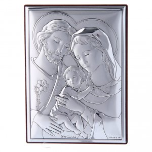Bas reliefs en argent: Cadre Sainte Famille en bi-laminé avec support en bois massif 12x8 cm