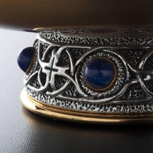 Calice pisside patena ottone argento croce celtica e pietra s7