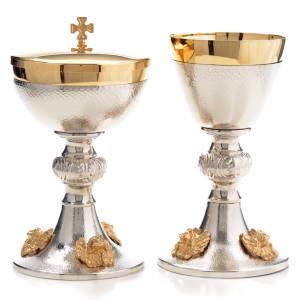 Cálices, Copones y Patenas metal: Cáliz y Copón plateado querubines dorados