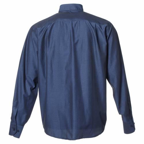 Camicia clergy cotone poliestere blu manica lunga s2