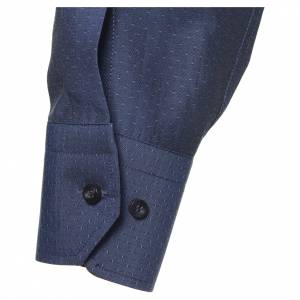 Camicia clergy cotone poliestere blu manica lunga s3