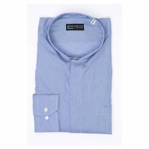 Camicia clergy M. Lunga Linea Prestige Puro Cotone Blu s3