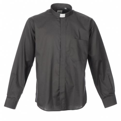 STOCK Camicia clergyman manica lunga misto grigio scuro s3