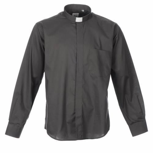 STOCK Camicia clergyman manica lunga misto grigio scuro s1
