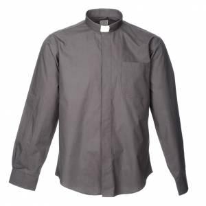 Camicie Clergyman: Camicia clergyman manica lunga popeline grigio scuro