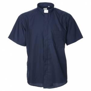 Camisas Clergyman: Camisa clergy manga corta, mixto algodón azul