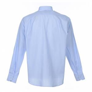 Camisas Clergyman: Camisa Clergy Manga Larga Hilo a Hilo, Mixto Algodón Celeste