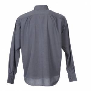 Camisas Clergyman: Camisa Clergy Manga Larga Hilo a Hilo, Mixto Algodón Gris