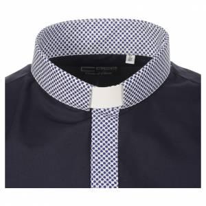 Camisa clergy sacerdote cruces azul manga larga contraste s3