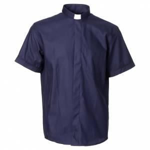 Camisas Clergyman: Camisa clergy sacerdote mixto algodón poliéster azul manga corta
