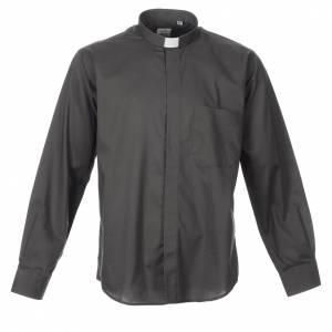 STOCK Camisa manga larga  mezcla de algodón gris oscuro s1