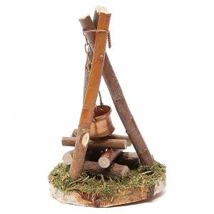 Fireplaces and ovens: Camp fire nativity with smoke 4,5V h. 11x7cm