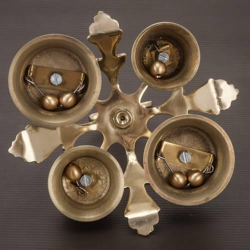 Campana litúrgica de cuatro sonidos decoración dorada s4