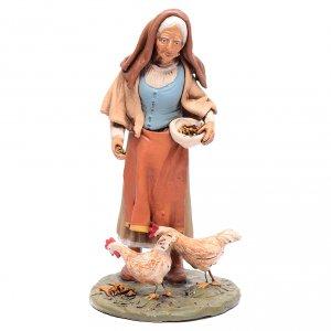 Belén terracota Deruta: Campesina con gallinas belén Deruta 30 cm
