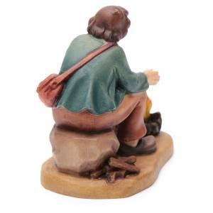 Campesino con fogata 12 cm madera pesebre mod. Valgardena s4