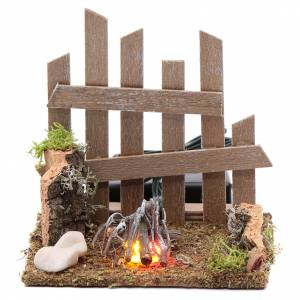 Fireplaces and ovens: Campfire with fence and LED light with batteries 10x10x10 cm