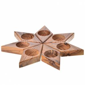 Support bougies: candélabre en bois d'olivier, étoile