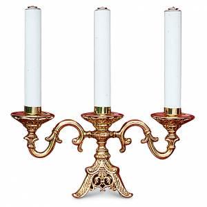 Candelabri: Candelabro ottone fuso dorato 3 bossoli h 22 cm