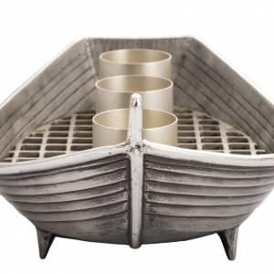 Candeliere barca bronzo argentato 3 fiamme s5