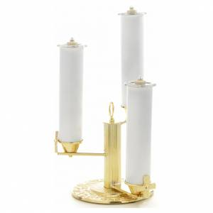 Candlestick with 3 flames in gold-plated bronze s3