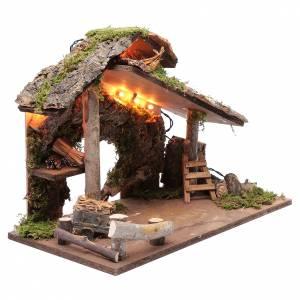 Capanna per presepe con tronchi d'albero e carretto 35x50x25 cm s3