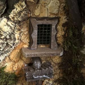 Capanna presepe 80x110x70 cm borgo e fontana s17