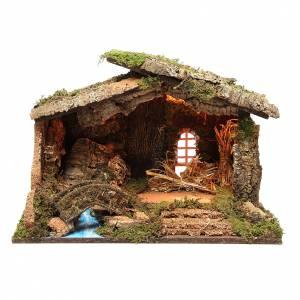 Capanne Presepe e Grotte: Capanna presepe con luci 36x50x26 cm